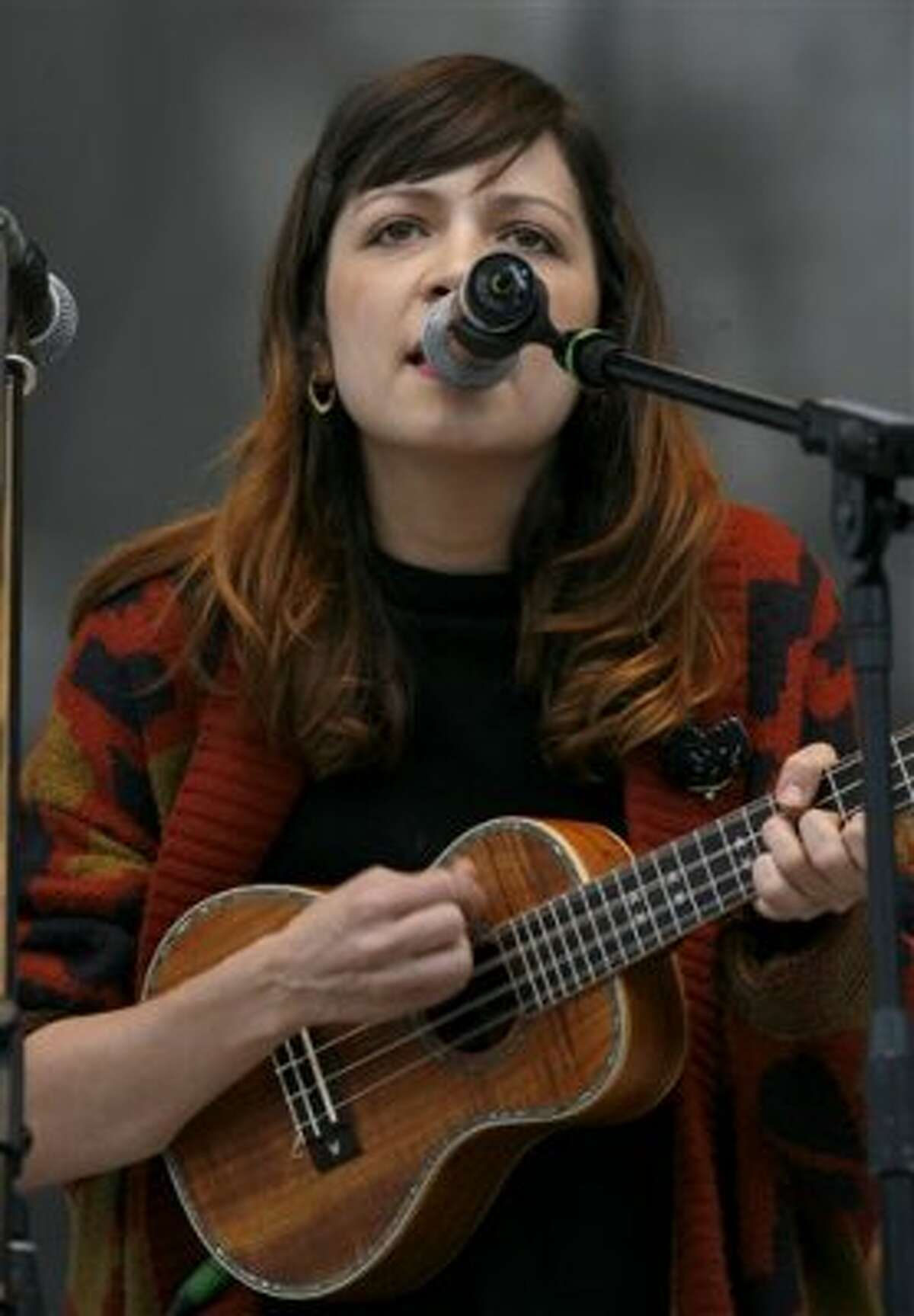 """Mexican multimedia artist Natalia Lafourcade performs during a music festival in support of the student movement #YoSoy132, or """"I am 132"""" in Mexico City, Saturday June 16, 2012. #YoSoy132 is the name of a university movement that rejects the possible return of the old ruling Institutional Revolutionary Party (PRI) ahead of Mexico's July 1 presidential election. (AP Photo/Marco Ugarte) (AP)"""