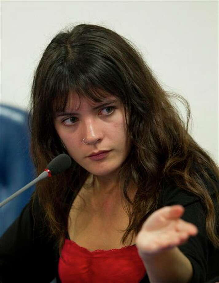 Chile's student leader Camila Vallejo speaks during a press conference in Mexico City, Thursday June 14, 2012. Vallejo is in Mexico to participate in a forum on Latin American public universities. (AP Photo/Eduardo Verdugo) Photo: Associated Press