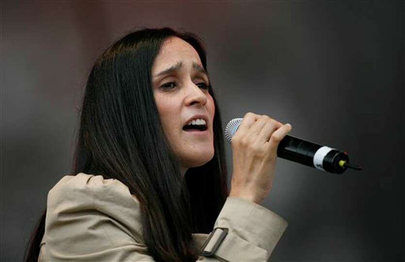 Mexican musician Julieta Venegas performs during a music festival in support of the student movement