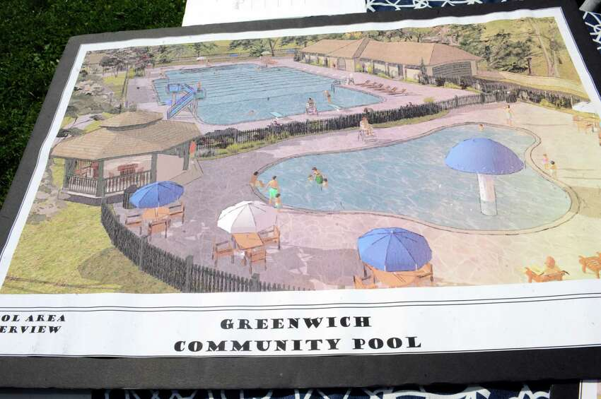 A conceptual design for a pool in Byram Park during the Greenwich Family Fair in Byram Park hosted by Junior League of Greenwich Sunday, June 17, 2012. In cooperation with the town, the Junior League is working to build a new community pool in Byram Park.