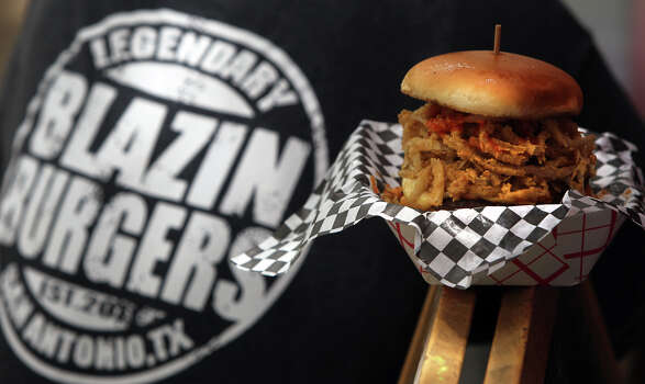 A burger from the Blazin' Burgers food truck. Photo: San Antonio Express-News