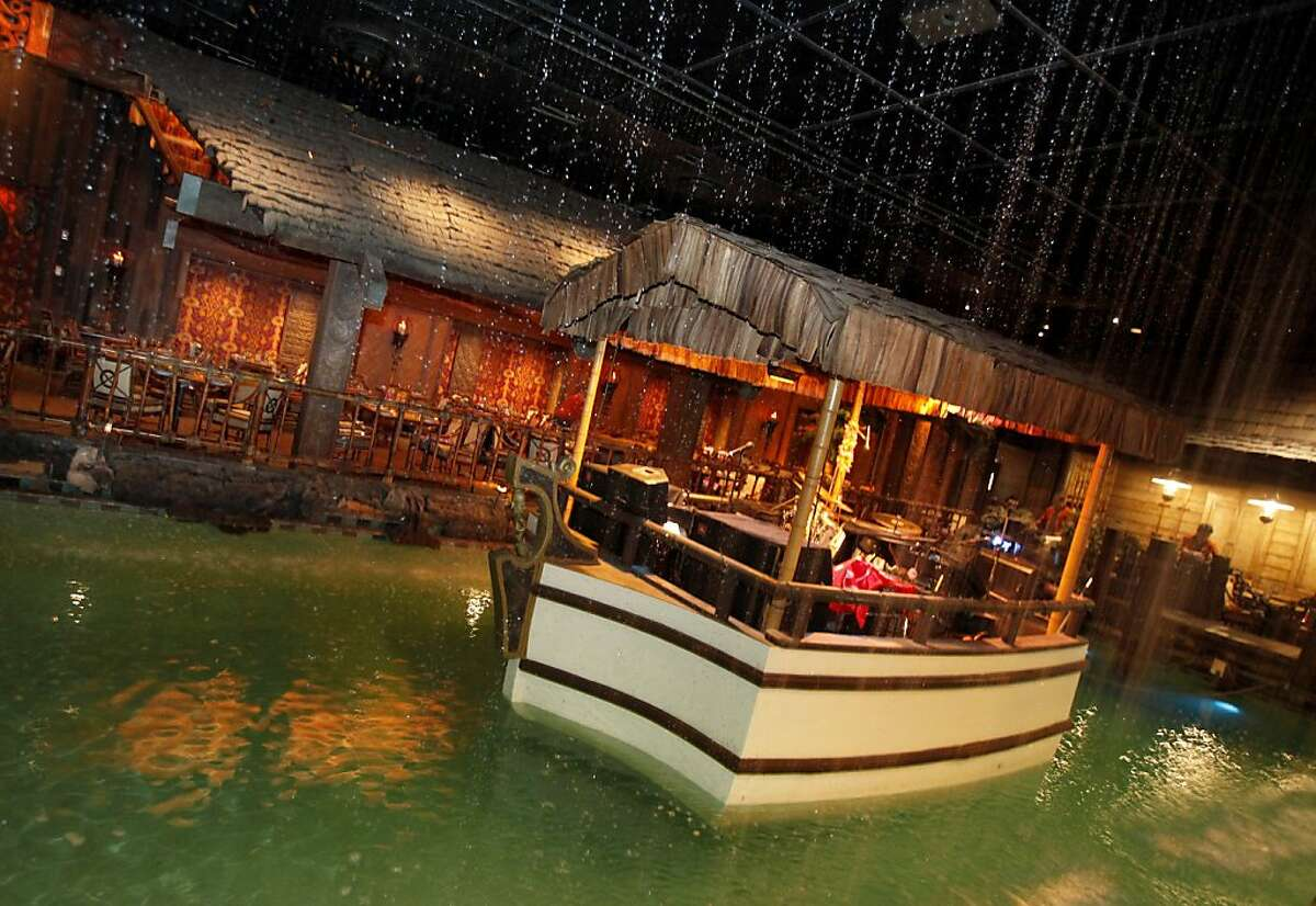 The Tonga Room is built around an existing swimming pool which now has a boat where a band plays most evenings complete with rain and thunder. The Tonga Room in the Fairmont Hotel in San Francisco, Calif. will be considered for historical landmark status by the City Historical Review Committee.