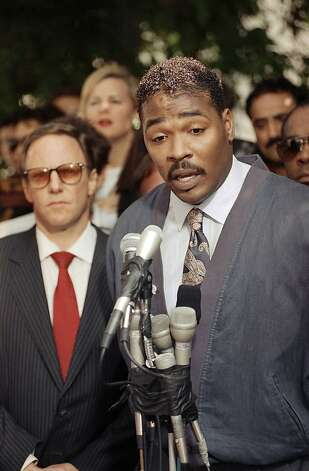 FILE -  This May 1, 1992 file photo shows Rodney King, right, speaking during a news conference in Los Angeles along with his attorney, Steven Lerman, left. King, the black motorist whose 1991 videotaped beating by Los Angeles police officers was the touchstone for one of the most destructive race riots in the nation's history, has died, his publicist said Sunday, June 17, 2012. He was 47. (AP Photo/David Longstreath, file) Photo: David Longstreath, Associated Press