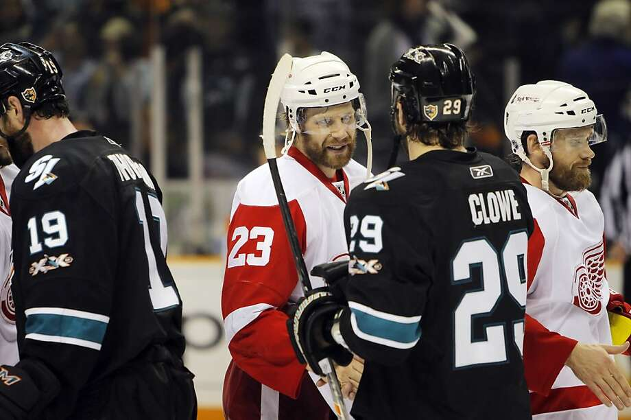 Ryane Clowe (29), right, and Brad Stuart (23) shake hands after the game and the Sharks defeated the Red Wings, 3-2. The San Jose Sharks played the Detroit Red Wings at HP Pavilion in San Jose, Calif., on Thursday, May 12, 2011, in Game 7 of the Western Conference Semifinals. Photo: Carlos Avila Gonzalez, The Chronicle