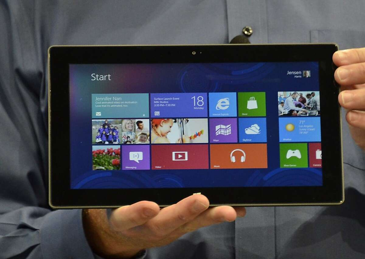 Microsoft's Executive Officer Steve Ballmer introduces Microsoft's new tablet SURFACE during the press conference in Milky Studios on June 18, 2012 in Hollywood, California. AFP PHOTO/JOE KLAMARJOE KLAMAR/AFP/GettyImages