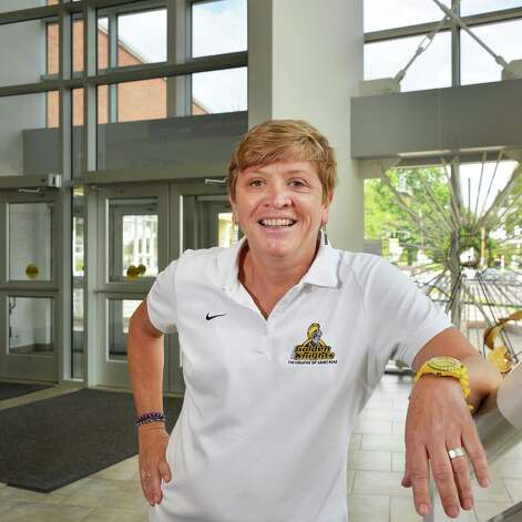 College of Saint Rose basketball coach Karen Haag of Albany at the college Thursday June 7, 2012. Haag is one of three founders of Camp Bravehearts that offers year-round weekend and day retreats for women dealing with cancer.    (John Carl D'Annibale / Times Union) Photo: John Carl D'Annibale / 00017959A