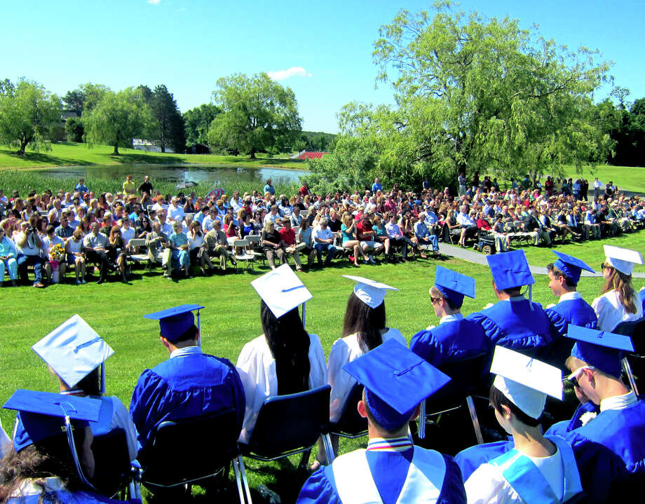 The Class of 2012 enjoys a gorgeous panorama of the school campus during  the Shepaug Valley High School graduation ceremony, June 16, 2012, in Washington. Photo: Norm Cummings