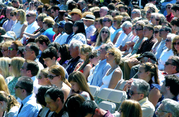 The sun-washed crowd looks on during the Shepaug Valley High School graduation ceremony, June 16, 2012, in Washington. Photo: Norm Cummings