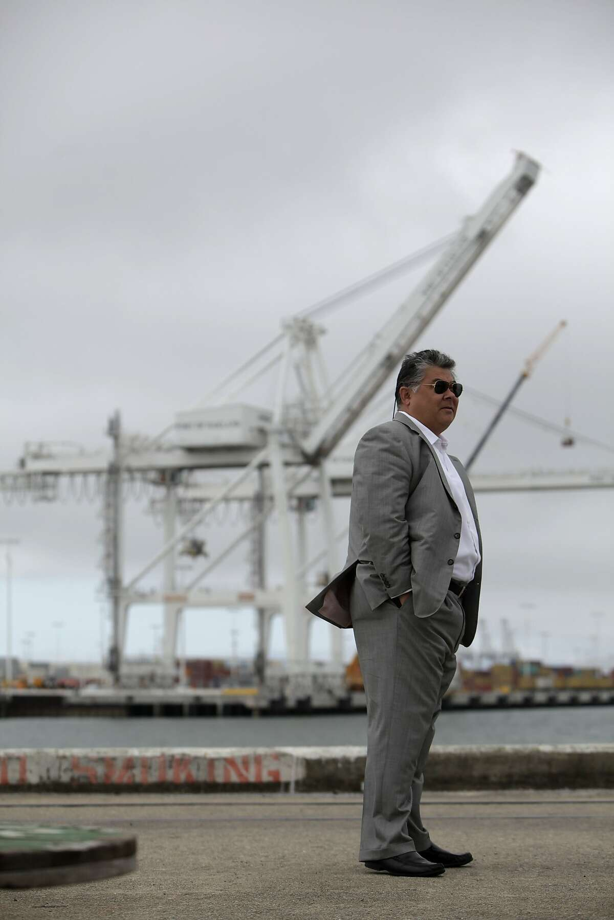 Phil Tagami, California Capital & Investment Group managing general partner, stands on the west gateway, an area which will become part of the rebuilt working waterfront on Monday, June 18, 2012 in Oakland, Calif.