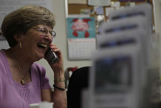 Robin Lungi laughs on the phone as she talks to a past Fresh Start attendee at Fresh Start on Thursday, June 14, 2012 in Walnut Creek, Calif. Lungi runs fresh start with her husband Bill Lungi who co-founded the center in 1998 with his wife Susan Prather, who passed away in 2008. Photo: Lea Suzuki, The Chronicle