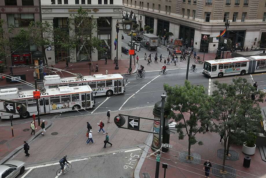 The main traffic pedestrians contend with on Market Street at New Montgomery is Muni buses. Photo: Liz Hafalia, The Chronicle