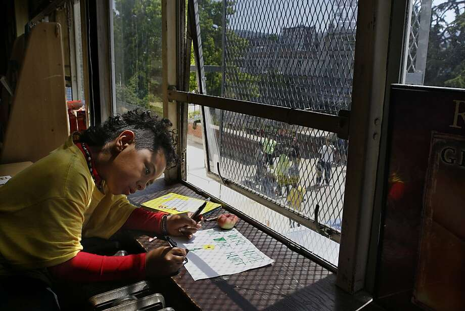 Student Zaquiel Velasquez, 10 years old, in a classroom at Lakeview Elementary in Oakland, California, on Monday, June 18, 2012.  Parents and supporters have been occupying the school, protesting the school's anticipated closure since Friday. Photo: Liz Hafalia, The Chronicle