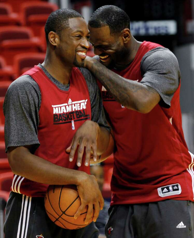 online store 748a3 69da4 Miami Heat shooting guard Dwyane Wade, left, and small forward LeBron James  share a