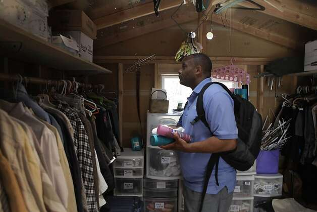 Paul Harrell looks over men's clothing section in the Clothing Shed at Fresh Start on Thursday, June 14, 2012 in Walnut Creek, Calif. Photo: Lea Suzuki, The Chronicle