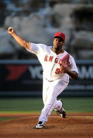 ANAHEIM, CA - JUNE 18:  Jerome Williams #57 of the Los Angeles Angels of Anaheim pitches against the San Francisco Giants at Angel Stadium of Anaheim on June 18, 2012 in Anaheim, California.  (Photo by Lisa Blumenfeld/Getty Images) Photo: Lisa Blumenfeld, Getty Images