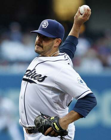 San Diego Padres starting pitcher Jason Marquis works the first inning against the Texas Rangers during  an interleague baseball game, Monday, June 18, 2012, in San Diego. Photo: Lenny Ignelzi, Associated Press