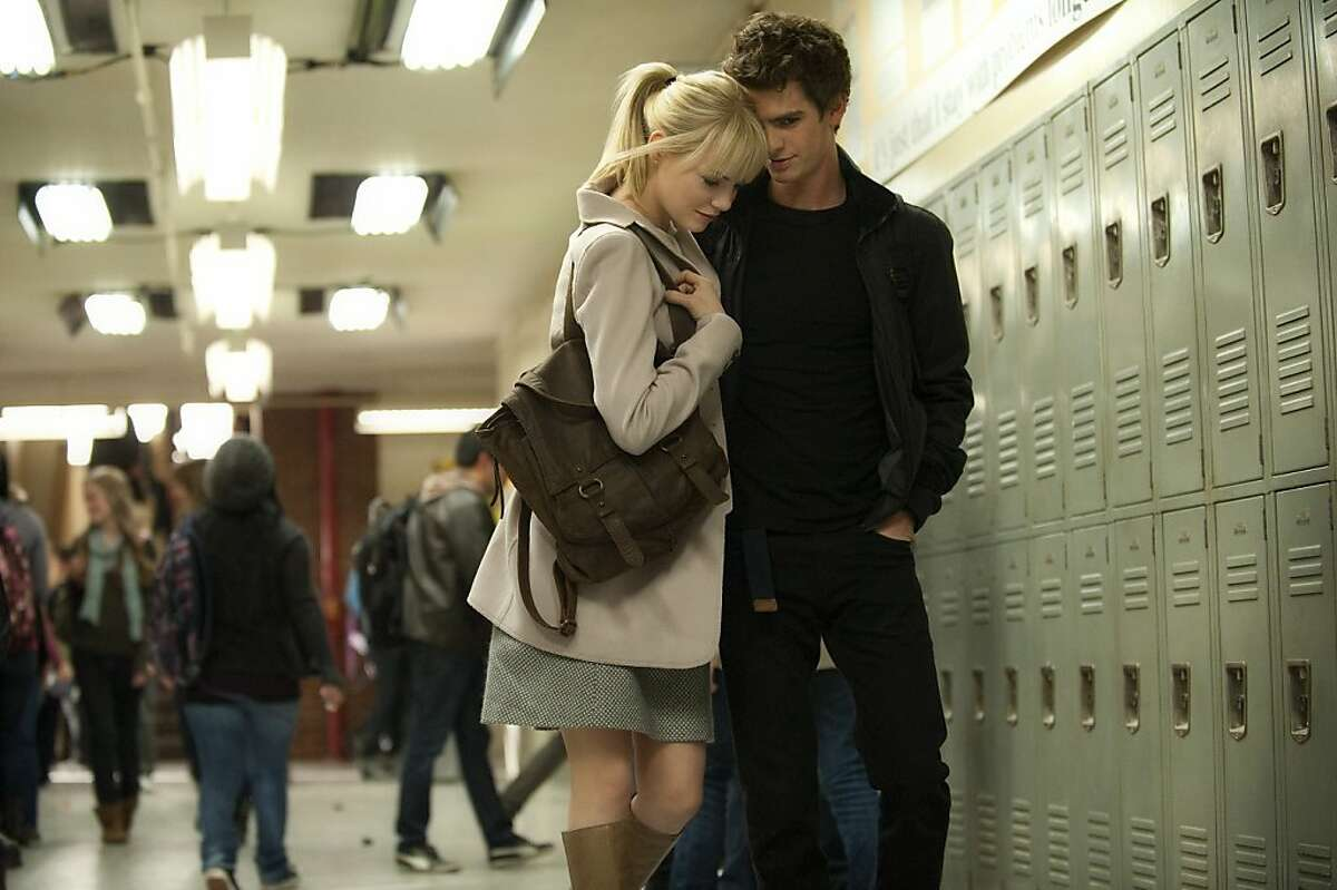 """Emma Stone as Gwen Stacy and Andrew Garfield as Peter Parker (Spider-Man) in """"The Amazing Spider-Man."""" Emma Stone and Andrew Garfield star in Columbia Pictures' """"THE AMAZING SPIDERMAN."""""""