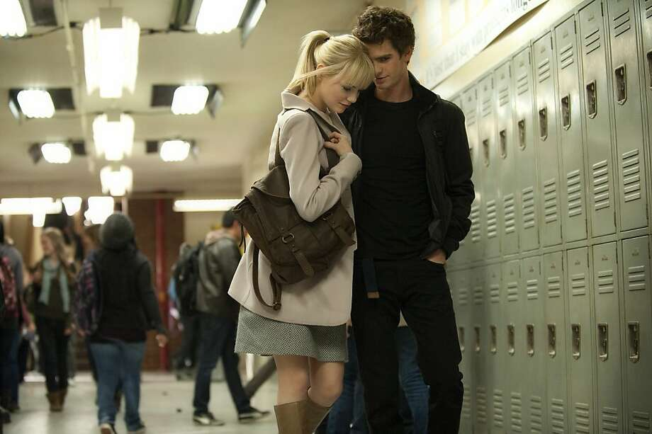"Emma Stone as Gwen Stacy and Andrew Garfield as Peter Parker in ""The Amazing Spider-Man."" Photo: Sony Pictures"
