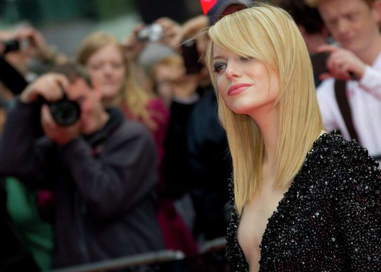 US actress Emma Stone arrives for the UK premiere of The Amazing Spider-Man at a central London cine