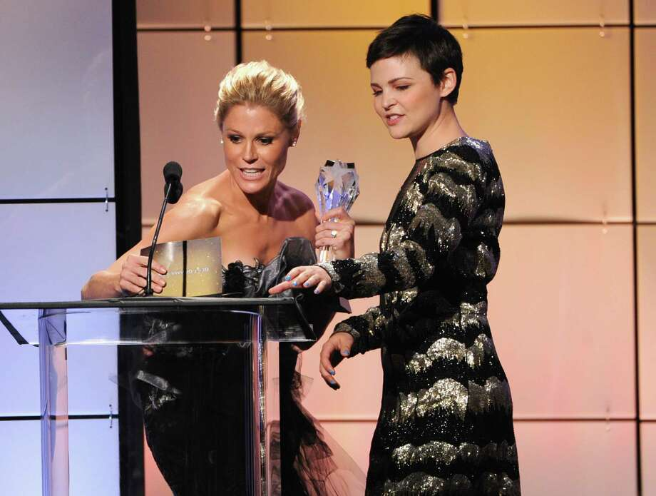 Ginnifer Goodwin (R) presents Julie Bowen with the Best Comedy Actress onstage during The Broadcast Television Journalists Association Second Annual Critics' Choice Awards at The Beverly Hilton Hotel on Monday. Photo: Kevin Winter, Getty Images For Critics Choice / 2012 Getty Images