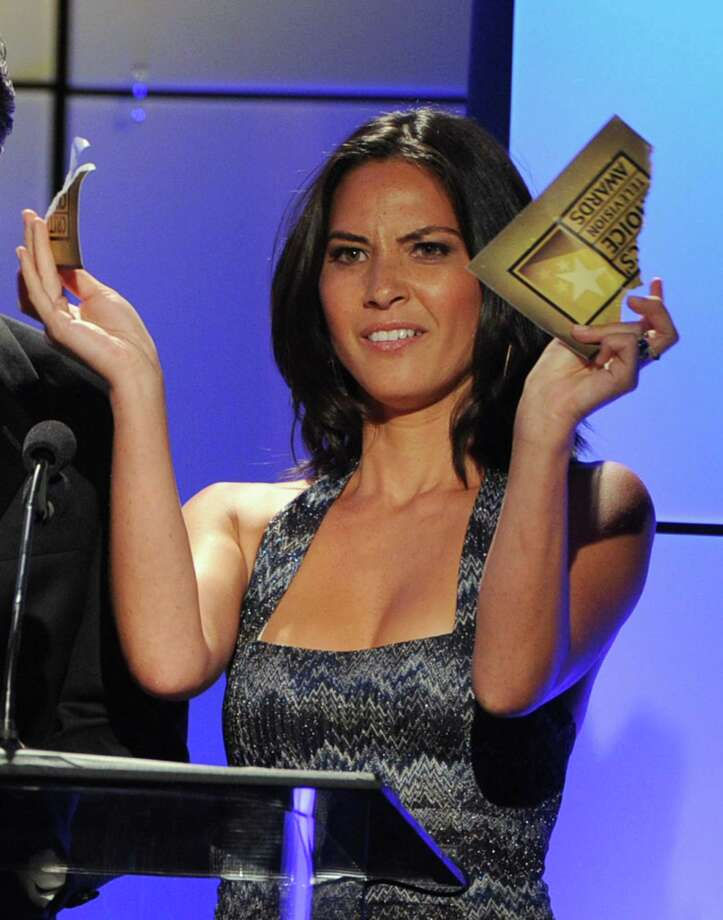 Presenter Olivia Munn speaks onstage during The Broadcast Television Journalists Association Second Annual Critics' Choice Awards at The Beverly Hilton Hotel on Monday. Photo: Kevin Winter, Getty Images For Critics Choice / 2012 Getty Images