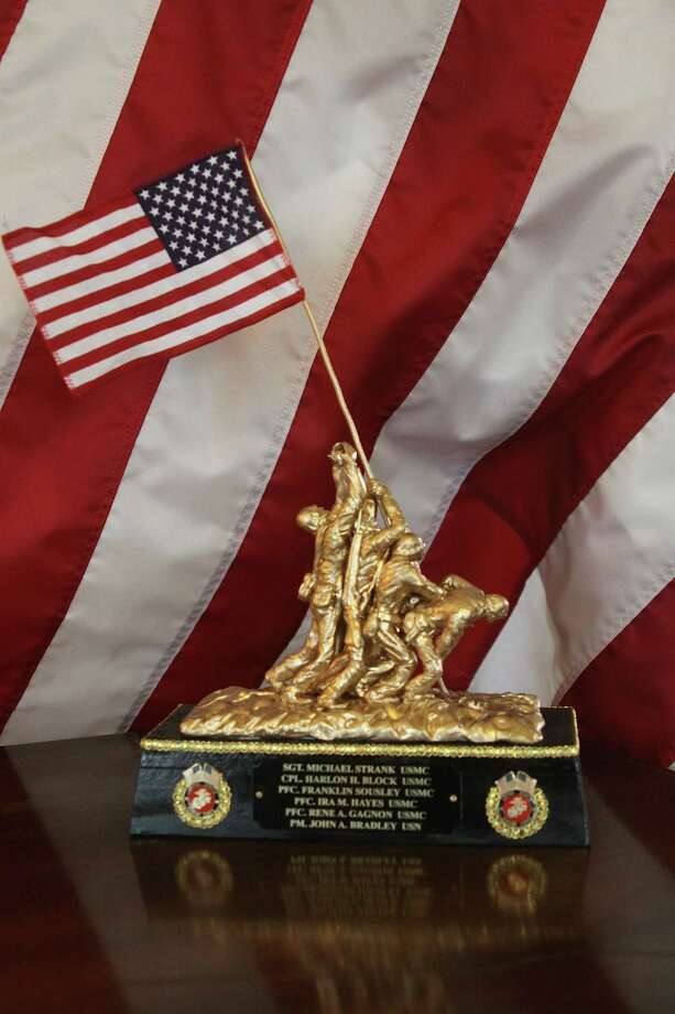 This statue of the Iwo Jima flag raising, based on a 1945 photo by Joe Rosenthal, was hand-made by local artist Walter Strain and donated to the Hardin County Historical Commission. Photo: David Lisenby, HCN_Statue