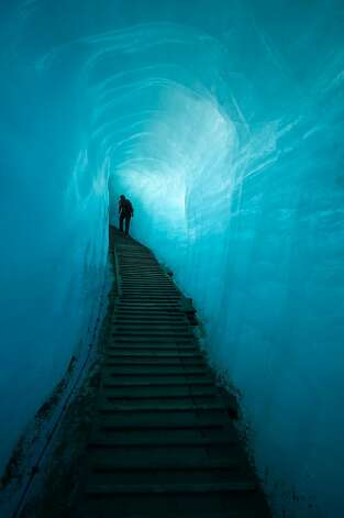 The man-made tunnel inside the Rhone Glacier. Valais, Switzerland. Photo: Lance Richardson