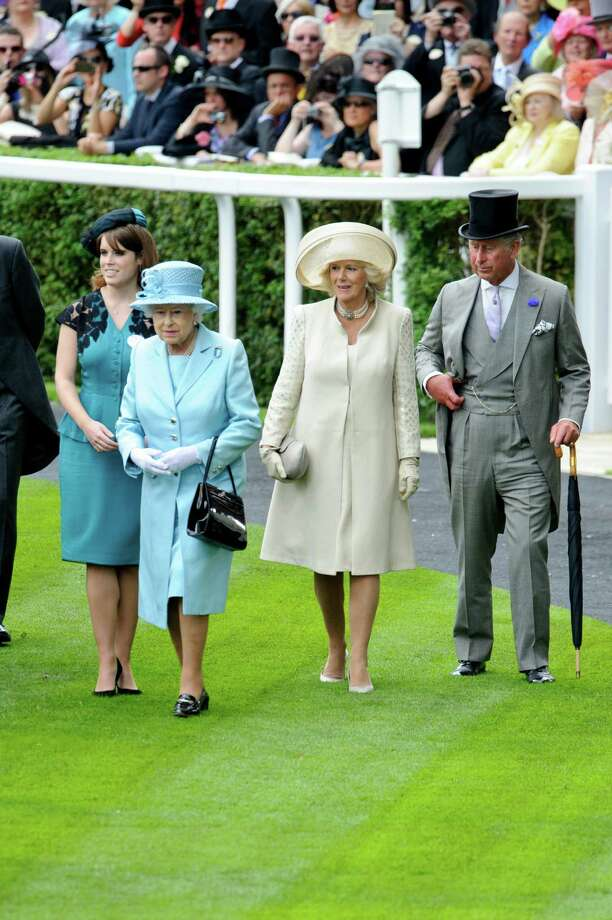 ASCOT, ENGLAND - JUNE 19: (L-R) Princess Eugenie, Queen Elizabeth II, Camilla, Duchess of Cornwall and Prince Charles, Prince of Wales attend day one of Royal Ascot at Ascot Racecourse on June 19, 2012 in Ascot, England. Photo: Ben Pruchnie, Getty Images / 2012 Getty Images