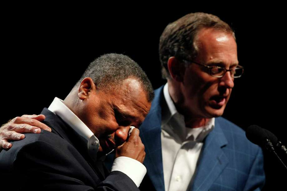 Fred Luter, Pastor of the Franklin Ave. Baptist Church in New Orleans, right, reacts as he is elected president of the Southern Baptist Convention, at the convention in New Orleans, Tuesday, June 19, 2012. Luter is the first African-American to be elected president of the nation's largest Protestant denomination. Right is current president Bryant Wright. (AP Photo/Gerald Herbert) Photo: Gerald Herbert, Associated Press / AP