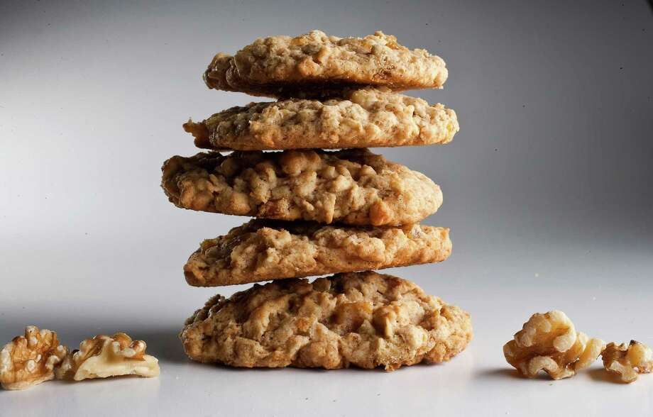 Healthy Oatmeal cookies made with walnuts and apricots, photographed in the Houston Chronicle studio, Thursday, May 31, 2012, in Houston. Photo: Karen Warren / © 2012  Houston Chronicle