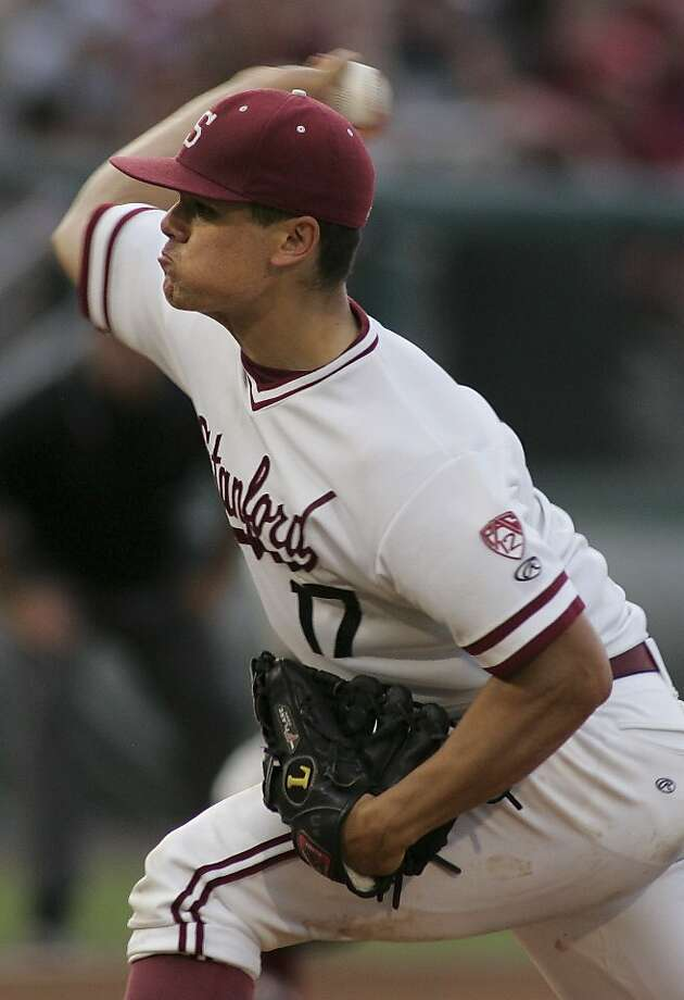 Stanford pitcher A.J. Vanegas throws in the fourth inning of an NCAA college baseball tournament super regional game against Stanford on Sunday, June 10, 2012 in Tallahassee, Fla. Florida State won 18-7 and advances to the College World Series. (AP Photo/Phil Sears) Photo: Phil Sears, Associated Press