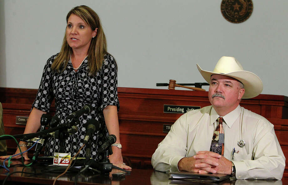 "Speaking on the grand jury's decision to not indict, District Attorney Heather McMinn said the law says ""deadly force is justified to stop a sexual assault. ... All the evidence indicated that is what was occurring."" Next to her at the news conference is Lavaca County Sheriff Mica Harmon. Photo: Kin Man Hui, San Antonio Express-News"