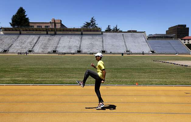 David Torrence trains for the U.S. Olympics track and field trials at Edwards Stadium in Berkeley, Calif. on Tuesday,  June 12, 2012. The middle distance runner is vying for three spots on the U.S. team in the 800-meter, 1500-meter and 5,000-meter events at the London Olympic Games. Photo: Paul Chinn, The Chronicle