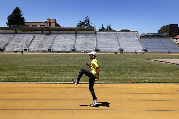 David Torrence trains for the U.S. Olympics track and field trials at Edwards Stadium in Berkeley, Calif. on Tuesday,  June 12, 2012. The middle distance runner is vying for three spots on the U.S. team in the 800-meter, 1500-meter and 5,000-meter events at the London Olympic Games.