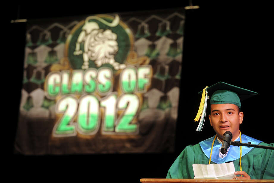 Valedictorian Joel Benda speaks during graduation exercises for the Bassick High School Class of 2012, held at the Klein Memorial Auditorium, in Bridgeport, Conn., June 19th, 2012. Photo: Ned Gerard / Connecticut Post