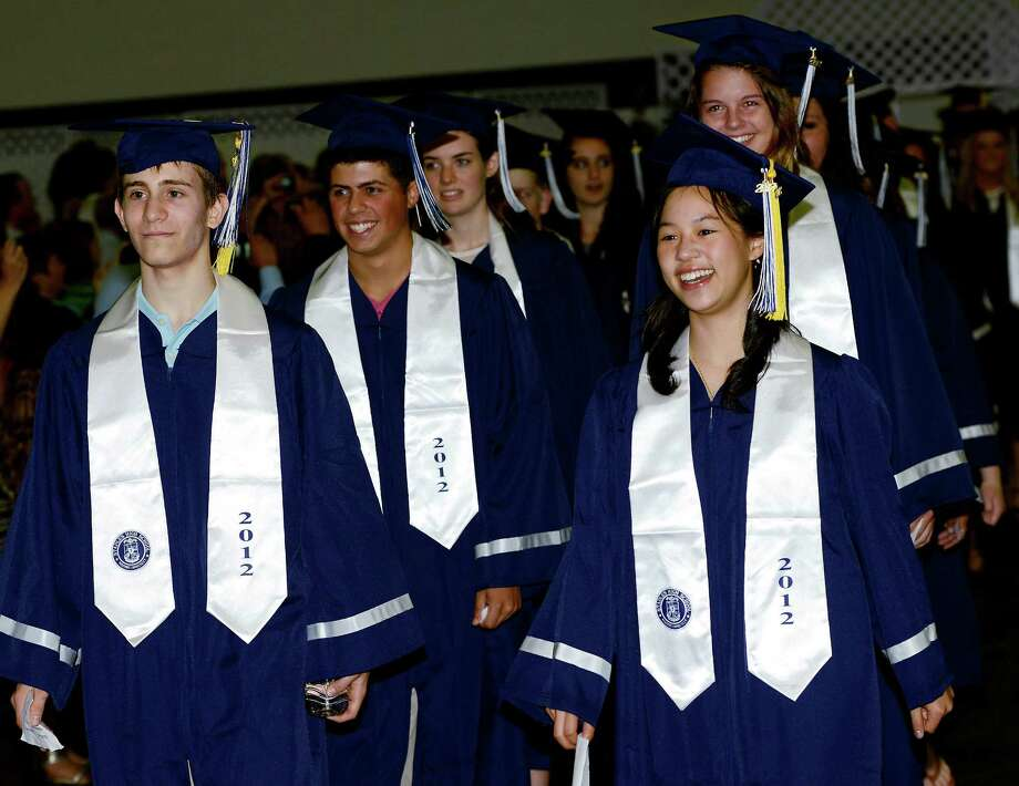 Students enter the field house during the start of the Staples High School graduation ceremony, Westport, CT, Tuesday June 19th 2012 Photo: Mark Conrad / Connecticut Post Freelance