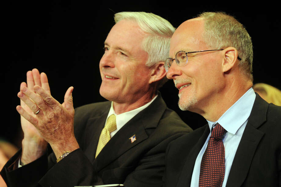 Mayor Bill Finch and Supt. Paul Vallas during graduation exercises for the Bassick High School Class of 2012, held at the Klein Memorial Auditorium, in Bridgeport, Conn., June 19th, 2012. Photo: Ned Gerard / Connecticut Post