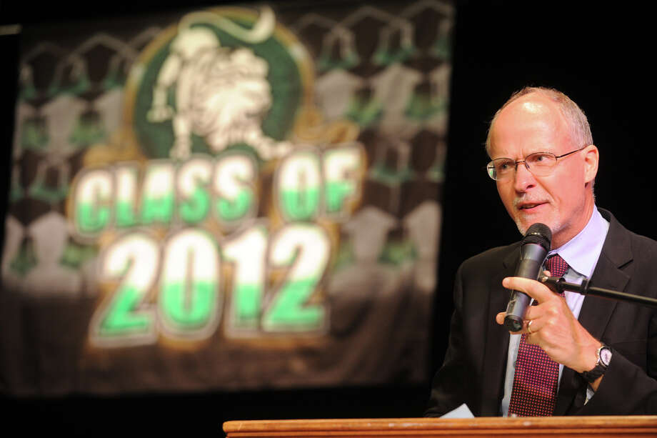Supt. Paul Vallas speaks at graduation exercises for the Bassick High School Class of 2012, held at the Klein Memorial Auditorium, in Bridgeport, Conn., June 19th, 2012. Photo: Ned Gerard / Connecticut Post