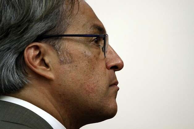 Suspended Sheriff Ross Mirkarimi listens during the Ethics Commission hearing on official misconduct charges against him in San Francisco, Calif., Tuesday, June 19, 2012. Photo: Sarah Rice, Special To The Chronicle