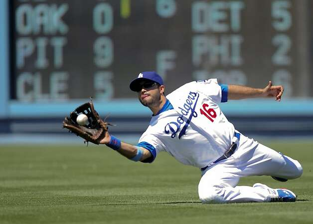 Los Angeles Dodgers right fielder Andre Ethier catches a hit from Chicago White Sox's Alex Rios for the third out in the sixth inning of a baseball game on Sunday, June 17, 2012, in Los Angeles. (AP Photo/Gus Ruelas) Photo: Gus Ruelas, Associated Press