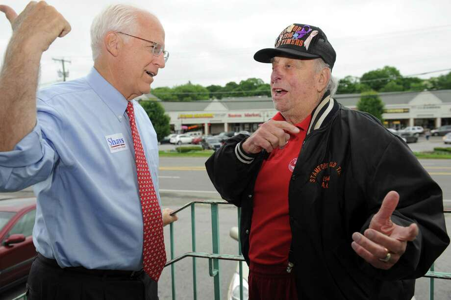 Former Congressman Christopher Shays speaks with Carmine Vaccaro, of Stamford, at Parkway Diner, campaigning in Stamford for the Senate on Tuesday, June 19, 2012. Shays trails fellow Republican Linda McMahon by 29 points in the most recent Quinnipiac poll, with less than two months until the Aug. 14 primary. Photo: Helen Neafsey / Greenwich Time