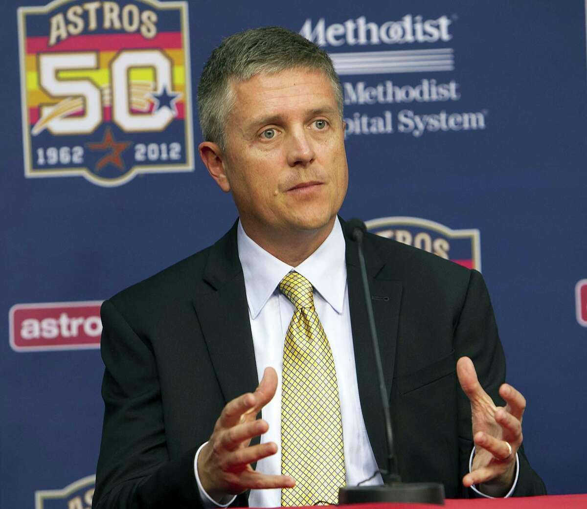 HOUSTON, TX - JUNE 18: Houston Astros general manager Jeff Luhnow answers questions during a press conference to introduce right-handed pitcher Lance McCullers, who was selected in the compensation first round (41st overall) of the 2012 MLB First Year Player Draft at Minute Maid Park on June 18, 2012 in Houston, Texas. (Photo by Bob Levey/Getty Images)