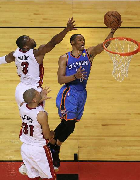Thunder guard Russell Westbrook broke through the Heat defense for 43 points, but it wasn't enough t