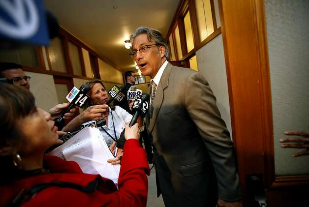 Suspended Sheriff Ross Mirkarimi speaks to reporters during a recess at the Ethics Commission hearing on official misconduct charges against him in San Francisco, Calif., Tuesday, June 19, 2012. Photo: Sarah Rice, Special To The Chronicle