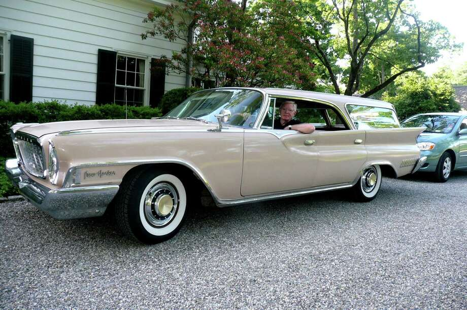 Bill Bonnell sits in his classic 1961 Chrysler New Yorker station wagon parked on a backcountry Greenwich driveway on his 64th birthday, June 16, 2012. Photo: Anne W. Semmes