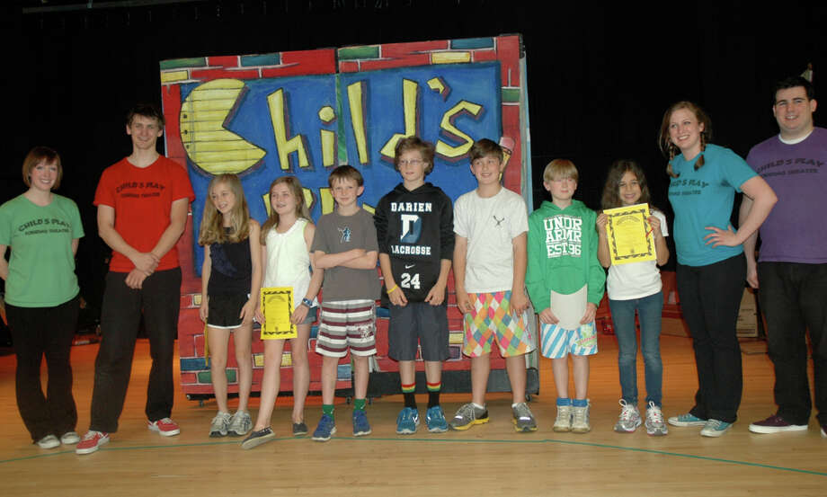 Pictured are Childís Play actors and the student writers of the winning pieces performed, from left, Cameron Appleby, Jill Mahony, Quinn Sheehan, Ryan Eppley, Ryan Sullivan, Hunter Ross, and Kelly Richter. Darien, Conn. Photo: Contributed Photo