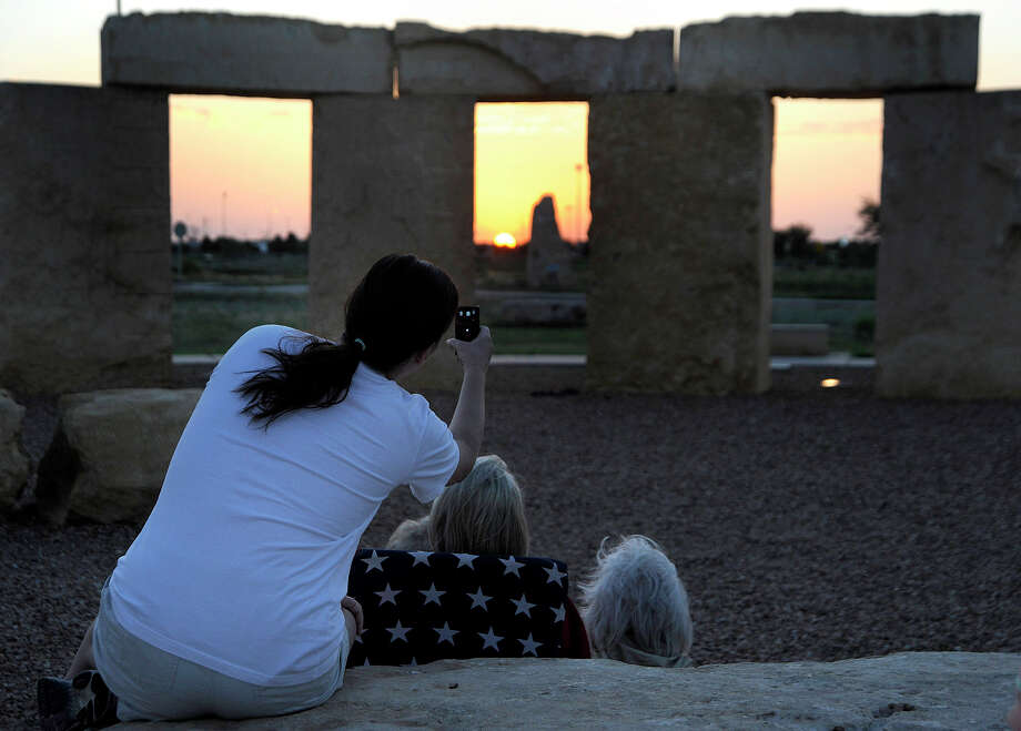 You expect a summer solstice to be like this: Sunrise from the Stonehenge replica at the University of Texas of the Permian Basin in Odessa, Texas, on Wednesday. Photo: AP