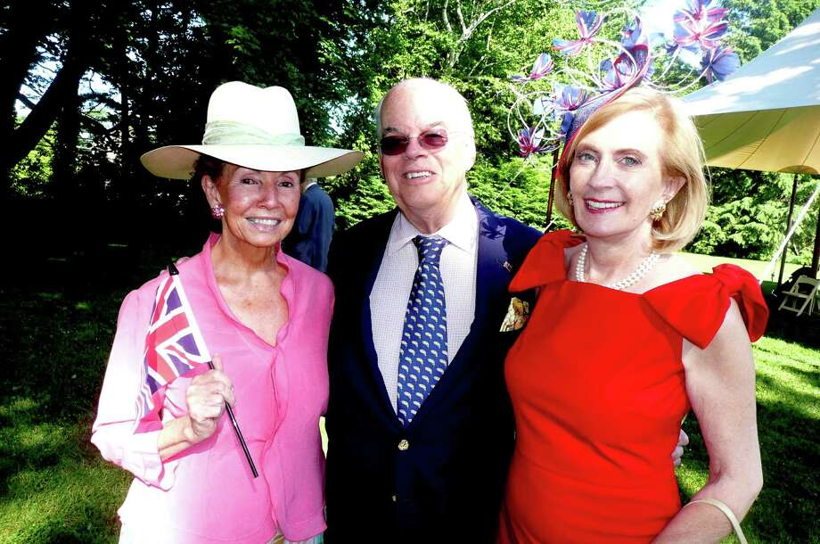 Natalie Pray, left, president of the Greenwich Branch of the English Speaking Union, traveled to London recently with Greenwich residents Nat and Lucy Day to attend the many events celebrating Queen Elizabeth II's Diamond Jublilee. Also on the trip, but not pictured here, was Greenwich resident Suzanne Geiss Robbins. Photo: Anne W. Semmes