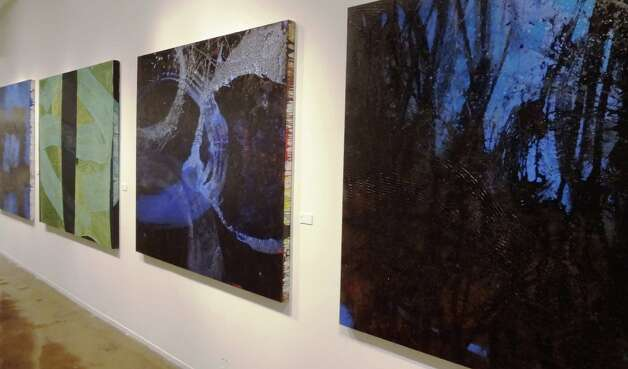 "Large abstract works made with black tar by Sandy Whitby are featured in ""San Antonio Painters"" at the Blue Star Contemporary Art Center. Photo: Photo By Steve Bennett"