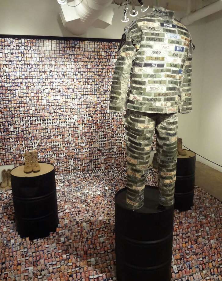 "Maria Cristina Jadick's sculptural installation ""The Price of Oil $94,375 (How Many More?)"" is a political piece at the center of the ""Texas Sculpture Group Interior Exhibition"" at the Blue Star Contemporary Art Center through Aug. 18. Photo: Photo By Steve Bennett"